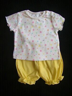 Baby clothes GIRL 0-3m outfit summer yellow shorts,multi-spot white top SEE SHOP