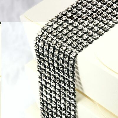 Black & Silver Diamante Crafting Strip 8 Rows X 1.5M Wedding Party