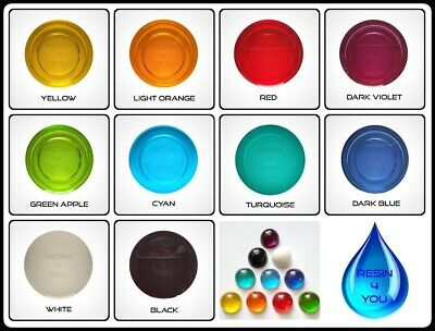 Resin4you Set of 10x Colors Transparent Translucent Epoxy Resin Pigments Dyes