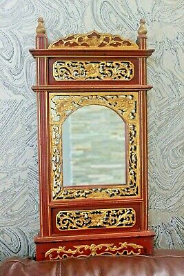 Beautiful Antique wooden Carved Fretwork Gold Gilt Lacquer Red Panel Mirror