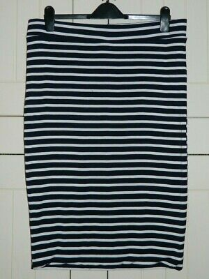 Topshop Maternity Navy White Striped Soft Stretchy Skirt Size UK 16