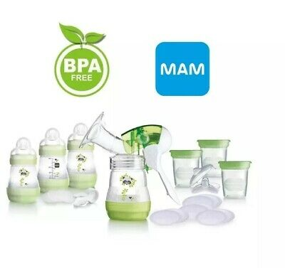 MAM Breast Feeding Starter Set Breast Pump Bottles Pads Pots Discs 0m+ New