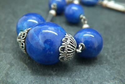 Fine Antique Edwardian/ Art Deco French Faux Lapis Lazuli Glass Bead Necklace