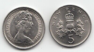 UK Five Pence Coins 5p 1968 to 1981 Choose your Year - Uncirculated