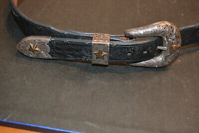 Edward H Bohlin  Texas Longhorn Sterling Silver & 14k Buckle Keepers & Belt