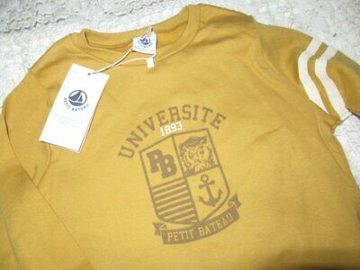 nwt Petit Bateau mustard yellow collegiate long sleeve t shirt boy 3 y free ship