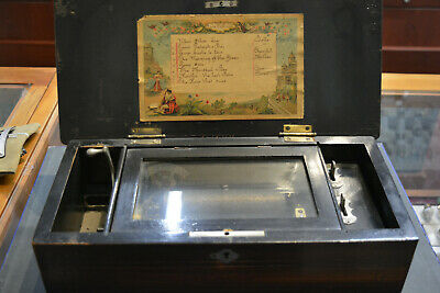 Antique Victorian SWISS Cylinder MUSIC Box Works! 1890's 8 Songs Estate Fresh