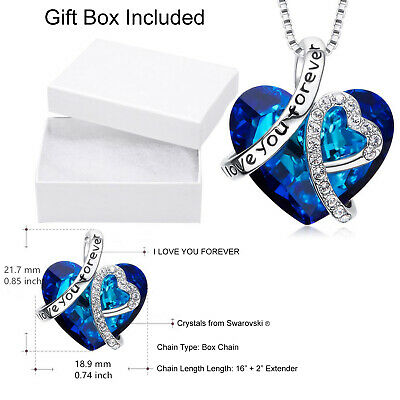 46d8e0126 Ocean Blue Heart Sterling Silver Necklace Made with Swarovski Elements  Crystals