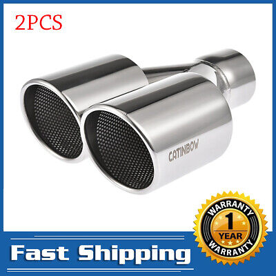 """2PCS Polish Dual Exhaust Tip Pipe Weld On Angle Cut 2.5""""Inlet 3.5""""Outlet 10""""Long"""