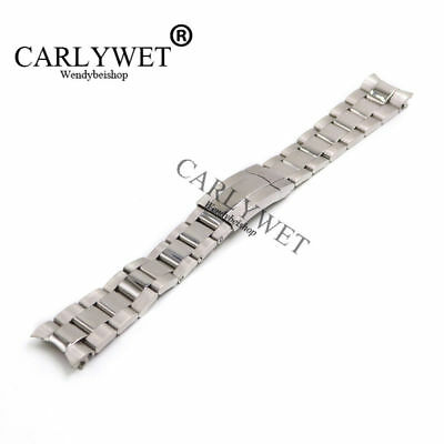 20mm Silver Steel Watch Band Solid Curve End Oyster Bracelet For Submariner