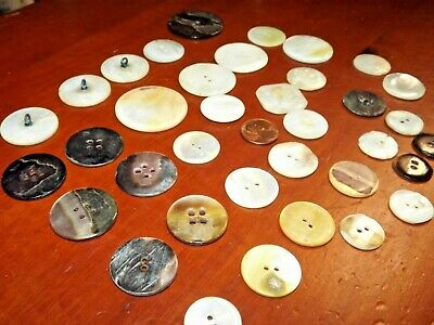 """36 Large Vintage Antique SHELL PEARL BUTTONS MOP, 1½"""", 1¼"""", 1"""",  3/4"""" Abalone"""