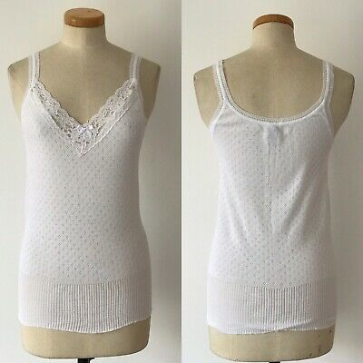 Vintage 50s Vest Camisole Interlock Cotton Granny Top Lace Ribbed Waist New Old