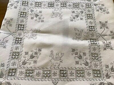 Antique Classic Assisi Work Tablecloth & 6 Napkins Cream Linen Grey Embroidery