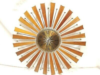Mid Century Modern Wood  Starburst Wall Clock 1960's   Seth Thomas beauty