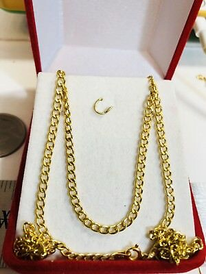 "18K Saudi Gold Necklace Chain 18"" Long"