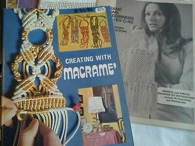 VINTAGE 1972 American Handicrafts CREATING WITH MACRAME #9640 & Purse Pattern