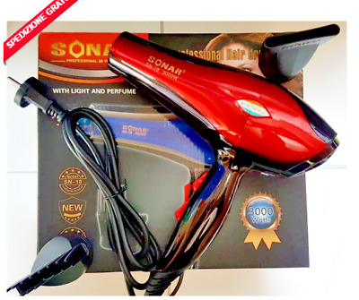 ASCIUGACAPELLI PROFESSIONALE SONAR SN 54 PHONO 5000 WATT CON LUCE COLORATA