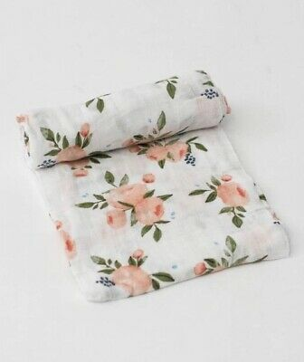 LITTLE UNICORN Swaddle, Watercolour Roses, BNWT, New Baby Gift, Organic Muslin