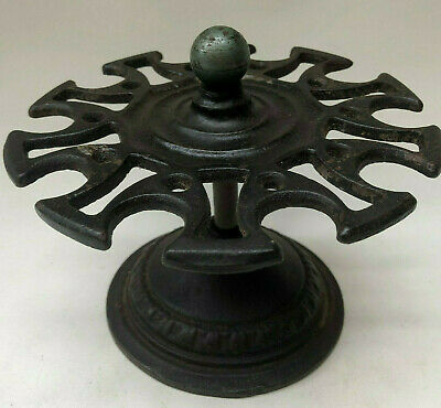 Antique French Cast Iron Revolving Rubber Stamp Holder From An Office Desk
