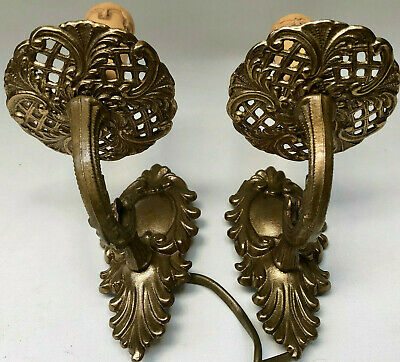 Vintage French Matching Pair Of Brass Wall Sconces, Electric Light Candle Decor