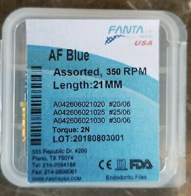 1Dental Endo Rotary AF Blue NiTi Files 25 mm Root Canal USA 20/04, 25/04, 30/04