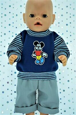 "Play n Wear Doll Clothes To Fit 17"" Baby Born NAVY FLEECY TOP~GREY DRILL PANTS"