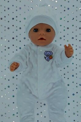 "Play n Wear Doll Clothes To Fit 17"" Baby Born WHITE MINKY STRETCH AND GROW~HAT"