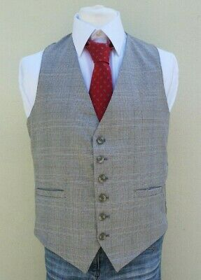 Mens Vintage Reversible Tan and Green Dogtooth Check Waistcoat Size 42