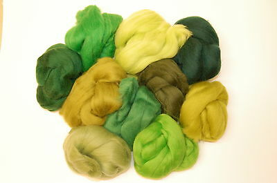 Green Merino Wool roving / tops - 10 woodland hues wet felting needle felting