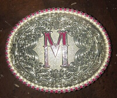 Montana Silversmiths Initial M Girl's Pink/Silver Decorated Western Belt Buckle