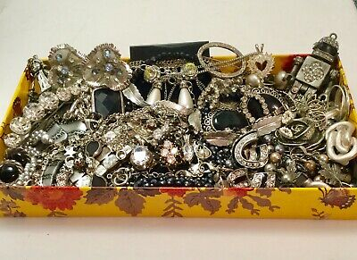 Huge Vtg Now Jewelry Lot Estate Find Rhinestones Unsearched Robot 925 Blk Silver