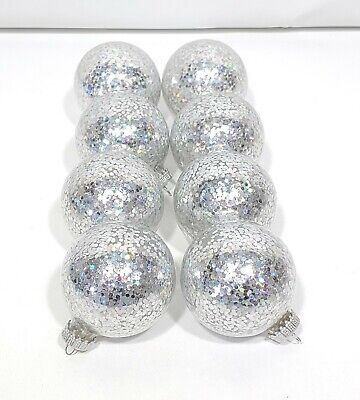 Clear Glass Large Flake Silver Glitter Ball Christmas Ornaments Lot of 8