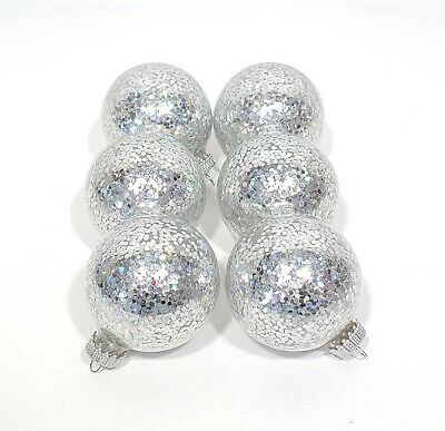 Clear Glass Large Flake Silver Glitter Ball Christmas Ornaments Lot of 6