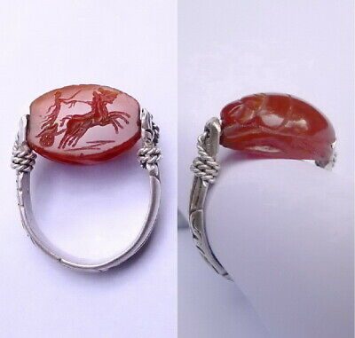 Antique with Roman Charioteer Carnelian Scarab Bead Silver Intaglio Swivel Ring