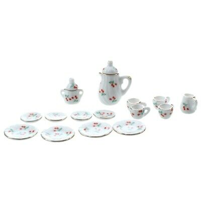 Set of 15pcs 1/12 Dollhouse Miniature Dining Ware Porcelain Tea Set---Red Ch 1D5