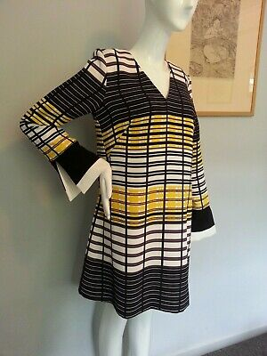 Vintage/retro CUE dress, black, yellow, white, 60s 70s, fabulous cuffs, sz 10
