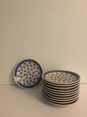 "Boleslawiec Polish Pottery Salad/Small 7.5"" Plates - Blue Flower Pattern"