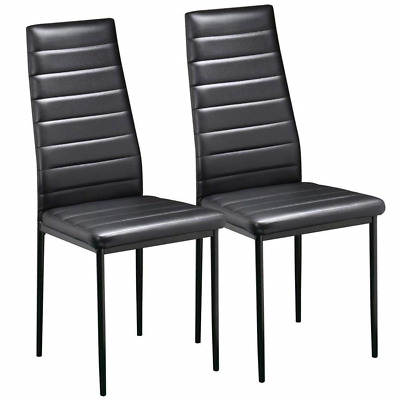 Yaheetech Pair of Black Modern Faux Leather Parson Dining Chairs Set of 2 High
