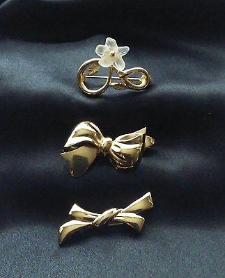 Vtg Clear Frosted Flower Pin & 2 Dainty Gold Tone Modernist Bows, Monet & Metal