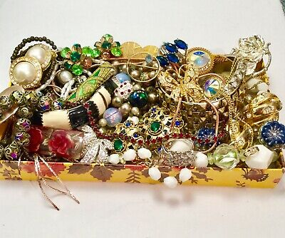 Huge Vtg Now Jewelry Lot Estate Find Rhinestones Unsearched Clip On,925,Colorful