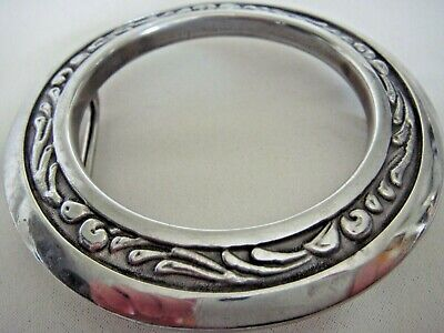 """3 ¾"""" Stainless Steel Saddle Cinch Ring Converted To Equestrian Belt Buckle Euc"""