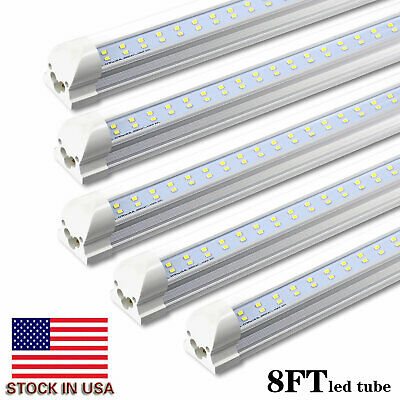 JESLED 8 Pack T8 Integrated 8FT LED Tube Light Bulbs 72W 6000K 7200LM Shop Light