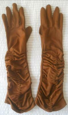 Pr Vintage 1960S Mid Forearm Length Tan Brown Ruched Detail Gloves 6