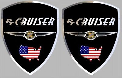 2 autocollants stickers noir chrome CHRYSLER PT CRUISER  (idéal ailes avant)