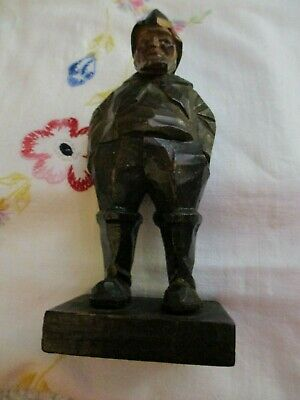 "VINTAGE HAND CARVED FISHERMAN WOOD FIGURE  6"" TALL SUPER Rare & Hard 2 Find!!"