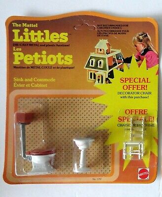 Mattel Littles Dollhouse Miniature 1:24 Furniture 1980 Bathroom Toilet Sink NOS