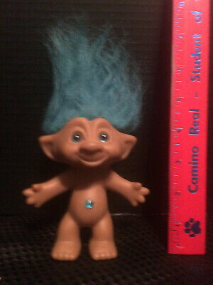 Vintage 1991 Troll doll with blue wishing star gem on belly button ACE