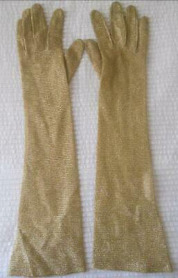 Vintage Pr 1960'S Luminex Ladies Gold Lurex Above Elbow Length Gloves 7 1/2