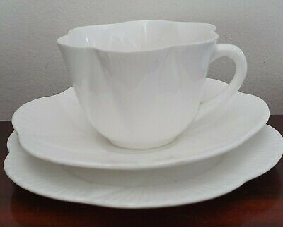 1940s Shelley Dainty White Trio Cup, Saucer & Underplate