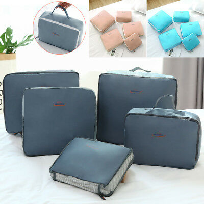5pcs Underwear Clothes Storage Bags Packing Cube Travel Luggage Organizer Case